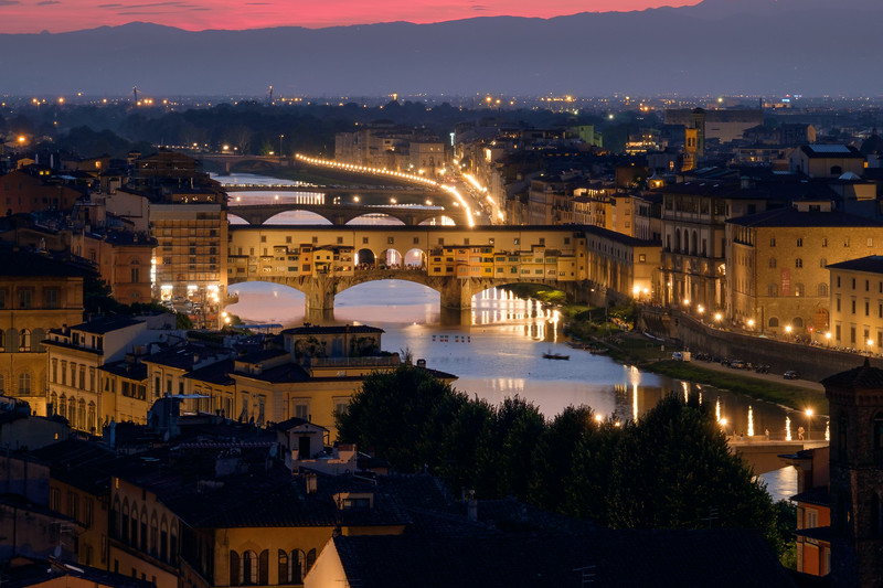 View over Ponte Vecchio (Old Bridge), Firenze, Italy