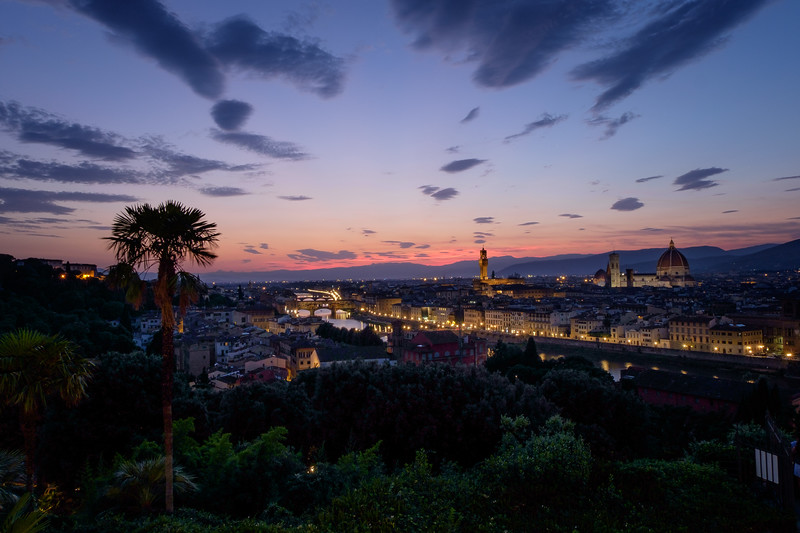View over Cathedral of Santa Maria del Fiore (Duomo) and Palazzo Vecchio from Piazzale Michelangelo at Night, Florence, Italy