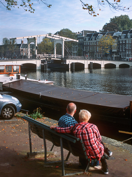 Channel and river Amstel view. Amsterdam, the Netherlands