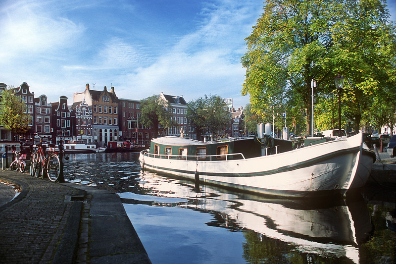 Channel and boat. Amsterdam, the Netherlands