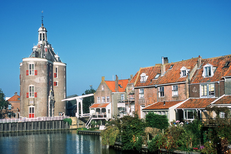 Drommedaris Castle, view from Wierdijk. Enkhuizen, The Netherlands