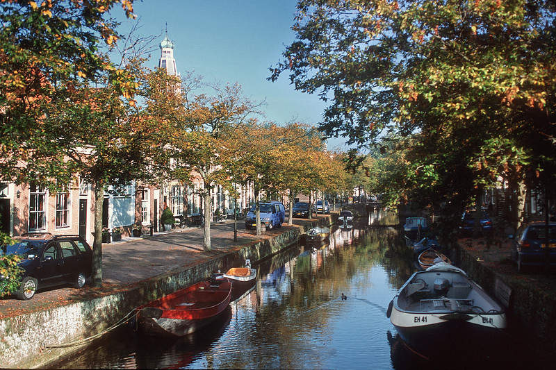 Zuider Havendijk str; Zuiderkerk at background. Enkhuizen, The Netherlands