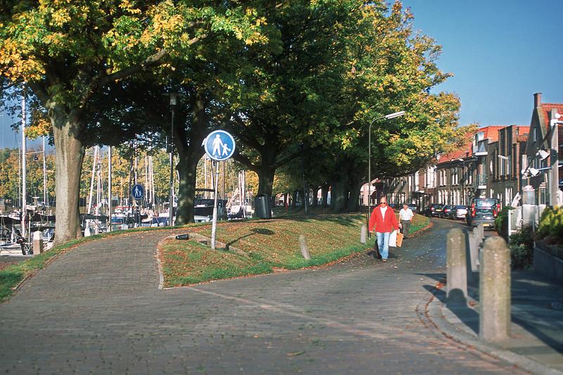 Havenveg str, harbor at the left. Enkhuizen, The Netherlands
