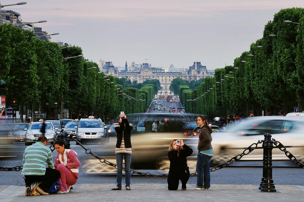 La tour Eiffel. View from Arc de Triomphe. Obélisque de Louxor in background