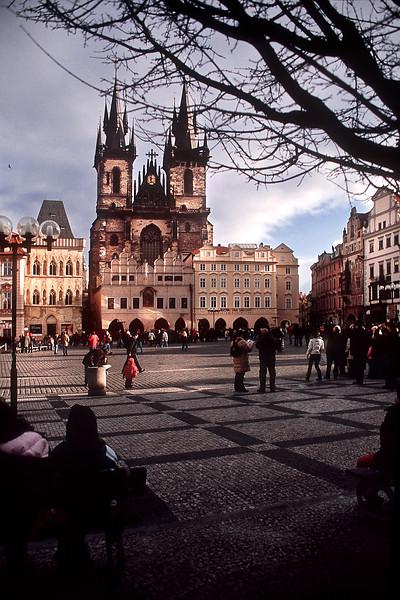 - Kostel Matky Bozi pred Tynem and Staromestske namesti view in Prague.<br /> - Вид на Храм Девы Марии перед Тыном и Староместскую площадь в Праге.