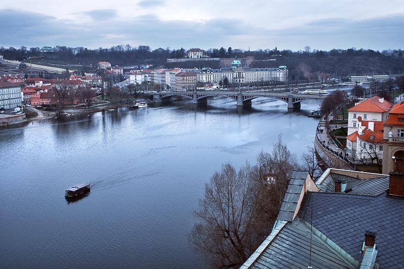 - River Vltava and Mánesův most view from East Bridge Tower of the Charles Bridge.<br /> - Вид с Восточной Мостовой Башни Карлова моста на реку Влтава и Манесов мост.