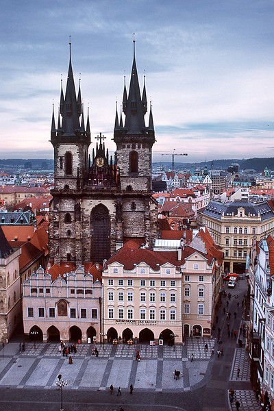 - Вид на Храм Девы Марии перед Тыном и Староместскую площадь в Праге c башни Староместской ратуши.<br /> - Kostel Matky Bozi pred Tynem and Staromestske namesti view in Prague.