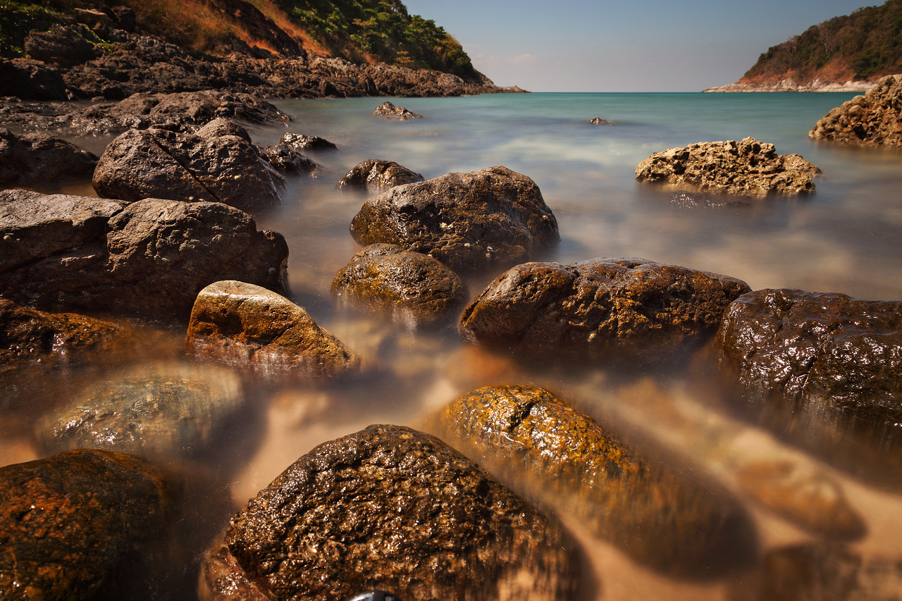 Long exposed water and stones. Phuket, Thailand
