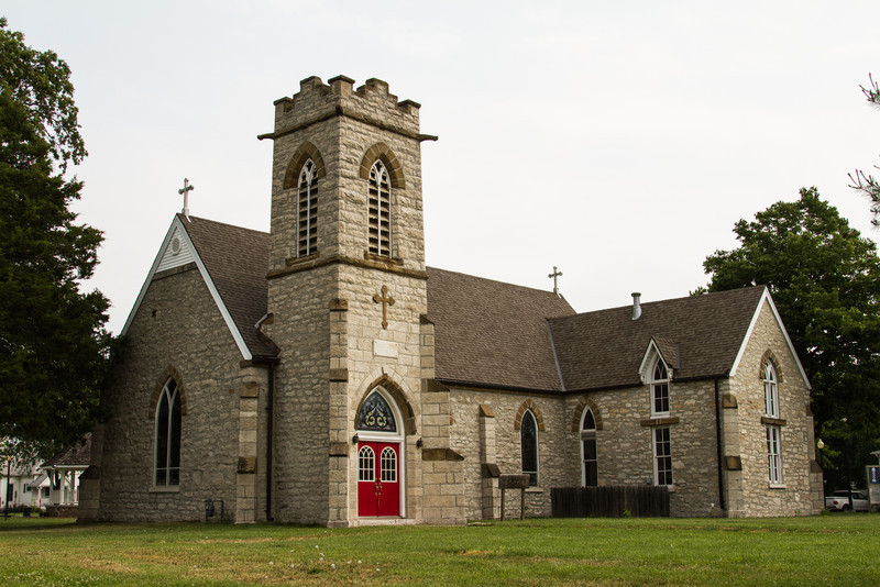 Old St Jude's Episcopal Church in Monroe City Missouri. <br /> Built in 1867 in the Gothic Revival style from limestone and sandstone locally quarried.