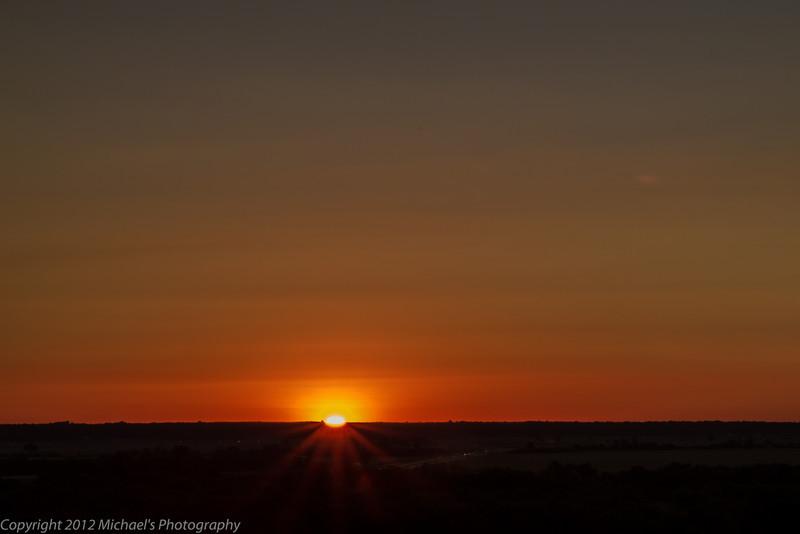 Sunrise looking from Missouri into Illinois