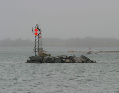 Mechanical lighthouse outside of Woods Hole, MA - USA