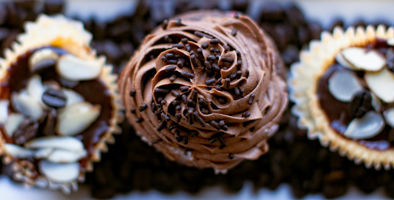Chocolate cup cake with almond sides man they are just delicious.