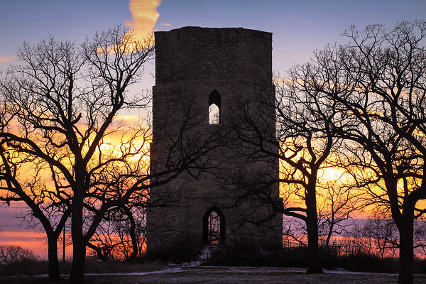 Historical Water Tower at Sunset