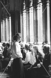 People waiting in Westminster Abbey, London, England