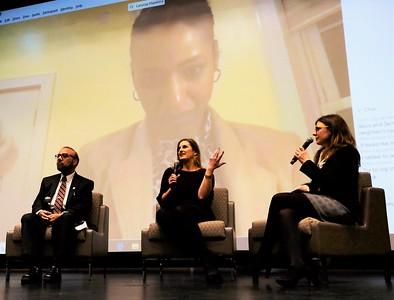 Professor Larycia Hawkins, film maker Linda Midgett, Professor Inam Haq and Rita George-Tvtkovic