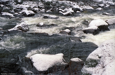 Snow on Merced River, Yosemite National Park