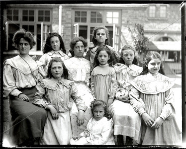 Teacher and students from Catholic school in Southwest U.S., 1890s-early 1900s.