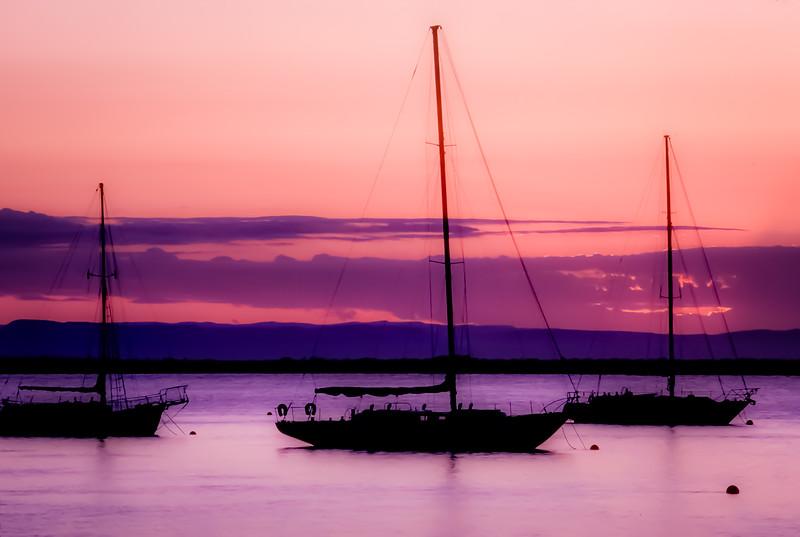 Coloful La Paz Sunset anchorage, Baja California Sur, Mexico