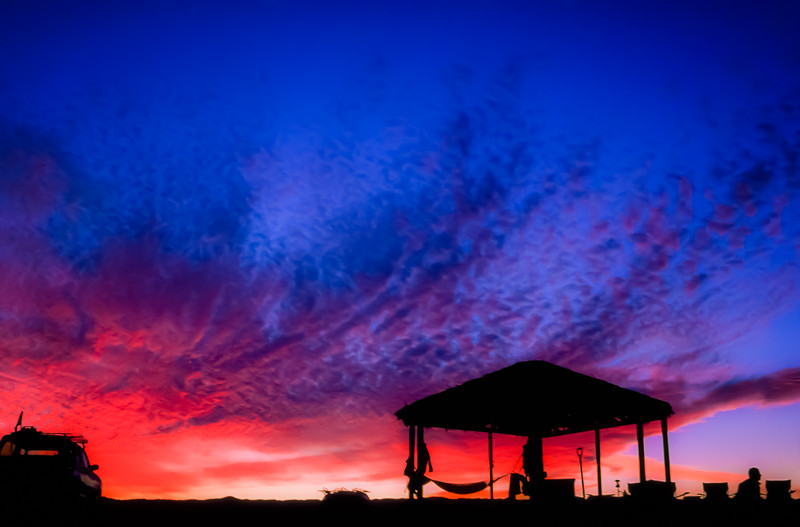 Sunset over the palapa at Bahía San Luis Gonzaga, Baja California