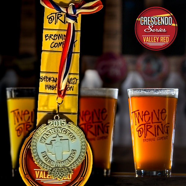 Twelve String Brewery's own gold metal winner at the 2015 Washington Beer Awards Valley Red is a great tasting Red Ale utilizing a unique German grown Malt and a nice hop flavor from Mosaic and Ahtanum Hops.