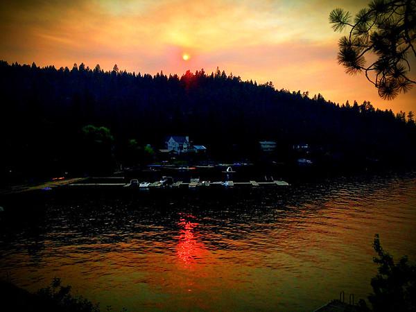 Summer Wildfire Sunset, Dreamwood Bay, Liberty Lake, Washington