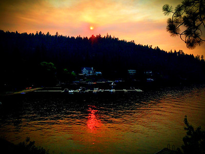 Summer Wildfire Sunset, Dreamwood Bay, Liberty Lake, Washington