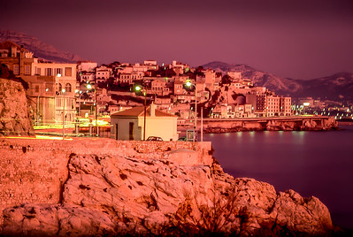 Lights of the city at dusk, Marseille, France