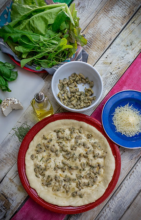 Deep homemade crust baked and served in enamelware platters