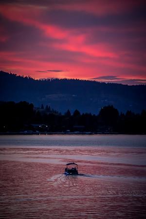 Colorful Sunset cruise on Liberty Lake, Washington