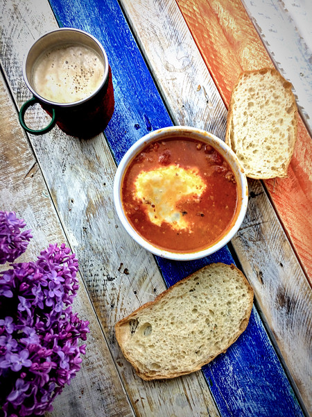 Mexican Style Chipotle Beans with Sourdough, Beer and Lilac