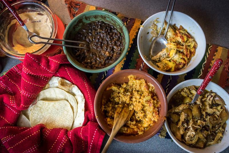 Chipotle Chicken, Pollo Verde, Black Beans, Rice, Tortillas and Crema Chipotle salsa