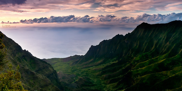 Wonderful sunset viewed from Waimea Canyon looking toward the Na Pali Coast