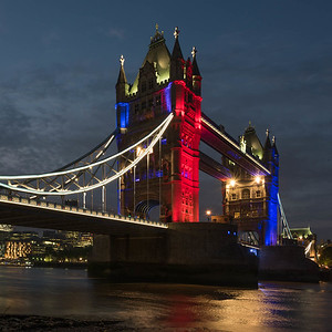 Tower Bridge, decked out for the Queen