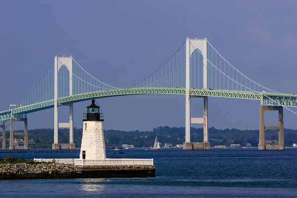 LIghthouse in newport RI with Bridge in background
