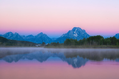 View of Mount Moran from Oxbow Bend Wyoming