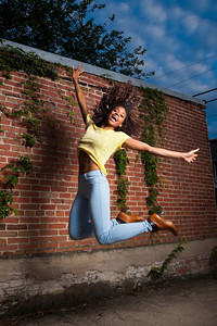 Jumping action portrait.