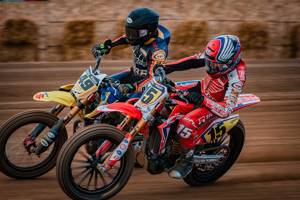 Racers compete in the 2019 American Flat Track Minnesota Mile at Canterbury Park.