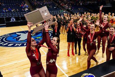 Holy Family Dance Team Captains Kaili Palattao '20 and Elle Bernaski '21 host the 2nd place trophy following their win.