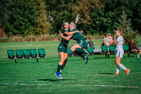 Holy Family Girls Varsity Soccer vs. DeLaSalle, 8/22/19: Maeve Kelly '22 (14) & Caitlin Rock '20 (12)