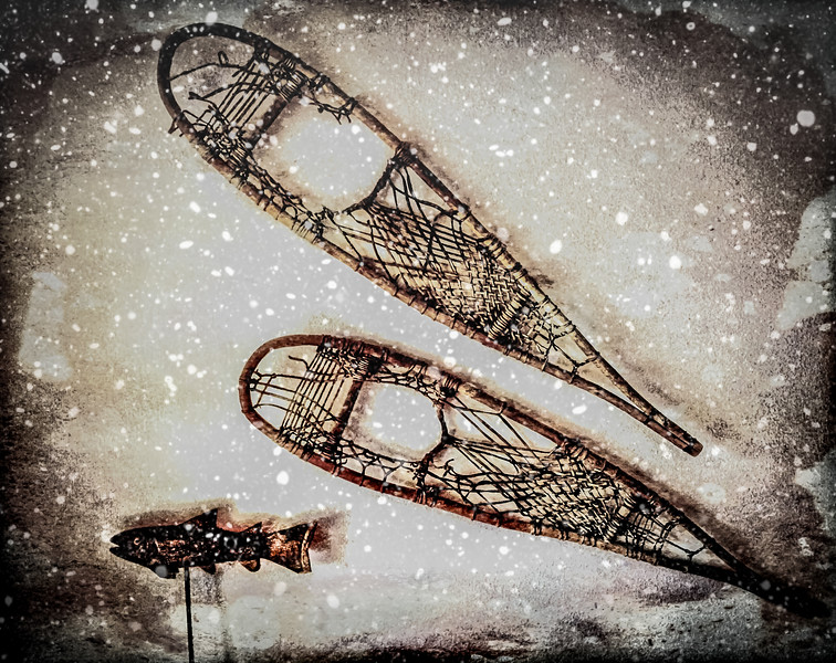 Found these handmade snowshoes in an old junk store. The trout is swimming along for the ride.