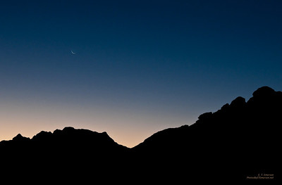 Crescent Moon over Los Cabos Skyline
