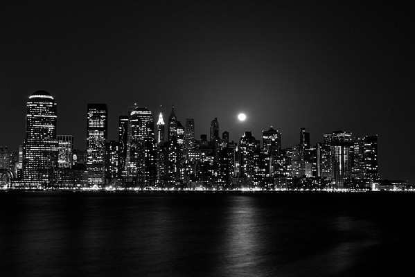New York City-Skyline-Night-Black and White