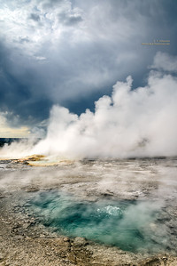 Pool, Geyser, Dark Moody Clouds