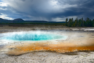 Geyser and Dark Clouds in the Midway Geyser Basin