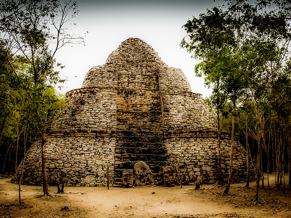 Coba pyramid located at the crossroads of ancient trading routes