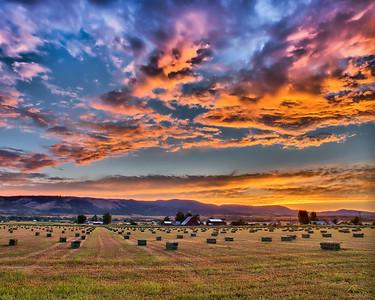 Hay Bales Sunset