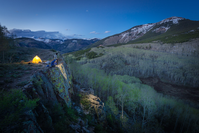 Spring camp above the leafing aspens.