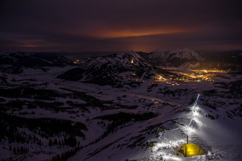 A winter night high above the towns of Crested Butte and Mount Crested Butte.