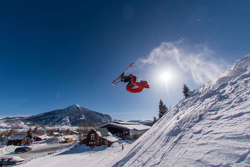 Nordic skier maverick Tabor Dussault, does his magic above the Crested Butte Nordic Center.