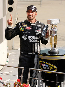 Jimmy Johnson gets his fourth Brickyard 400 Victory. (Jeff Brown)